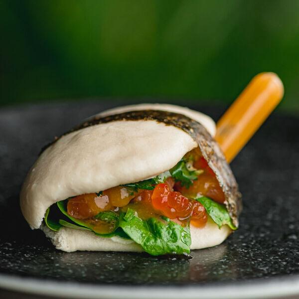Bao with salmon and red caviar