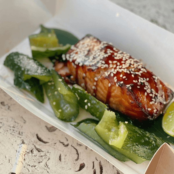Salmon Teriyaki with smashed cucumber